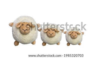 group of cute sheep toy on a white background,Easter sheep, Foto stock ©