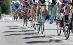 group of cyclist at professional race