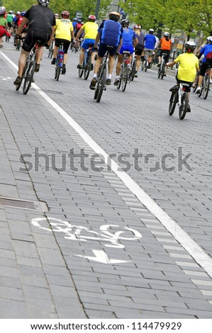 Group of cyclist at race