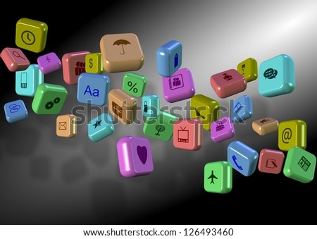 Group of 3d application icons suspended in the air / Apps abstract