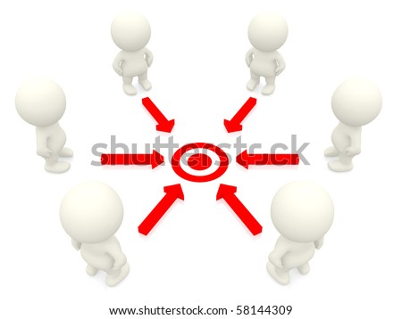 Group of 3D people working towards a common target isolated over a white background - stock photo