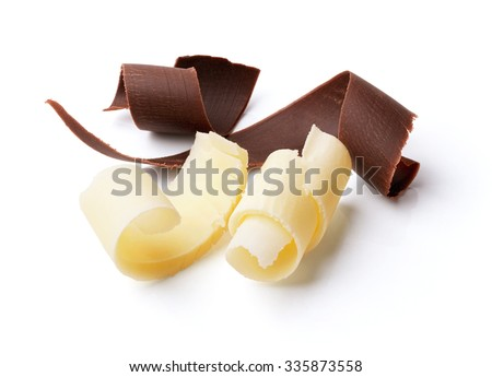 group of dark and white chocolate curls isolated on white