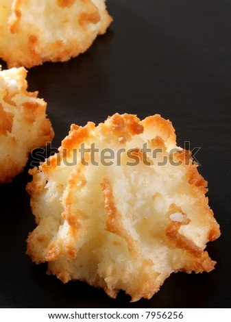 Group Of Delicious Coconut Macaroons On Dark Wood. Stock Photo 7956256 ...