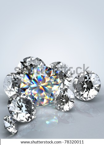 Group of  diamonds on white background. Beautiful sparkling diamond on a light reflective surface. High quality 3d render with.