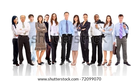Group of different people in a line - stock photo