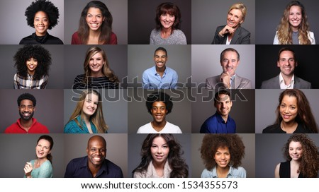 Group of different people in front of a colored background