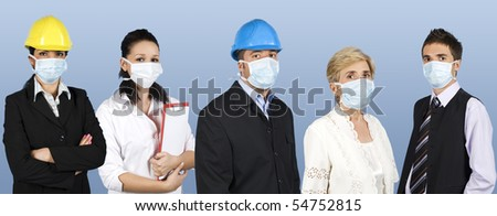 Group of different people jobs:doctor,architects or engineers,business man or retired woman standing in a line straight and wearing protective mask trying to protect them from flu epidemiology