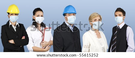 Group of different people jobs:doctor,architects or engineers,business man or retired woman standing in a line straight and wearing protective mask