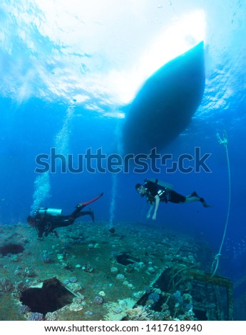 Group of divers explore the wreck, Red Sea, Egypt. #1417618940