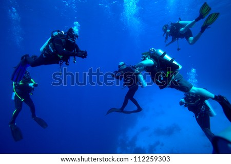 Group of divers on 5-min safety stop, Cuba