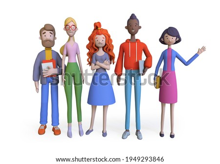 Group of diverse business people joined with happiness, Business teamwork concept, Trendy 3d illustration.