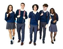 Group of Diverse High School Students Studio Portrait