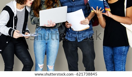 Group of Diverse High School Students Using Digital Devices Studio Portrait #621738845