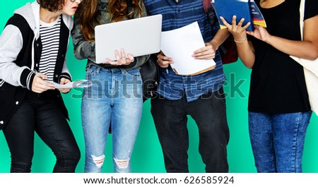 Group of Diverse High School Students Using Digital Devices Studio Portrait #626585924