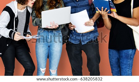 Group of Diverse High School Students Using Digital Devices Studio Portrait #638205832