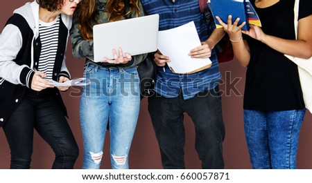 Group of Diverse High School Students Using Digital Devices Studio Portrait #660057871