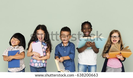Group of Diverse Kids Reading Books Together Studio Portrait