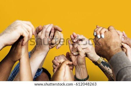 Group of Diverse People Hands Together Teamwork Cooperation #612048263
