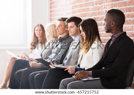 Group Of Diverse People Waiting For Job Interview In Office #657215752