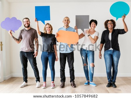Group of diverse people with speech bubbles icons
