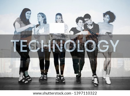 Group of diverse women using various digital devices #1397110322