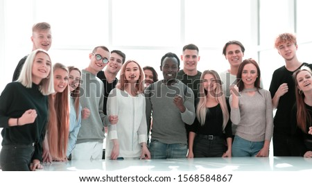 group of diverse young people standing together