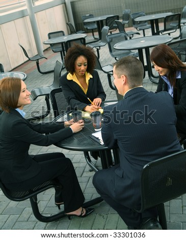 group of diversity business people have a business discussion. caucasian, african american, asian