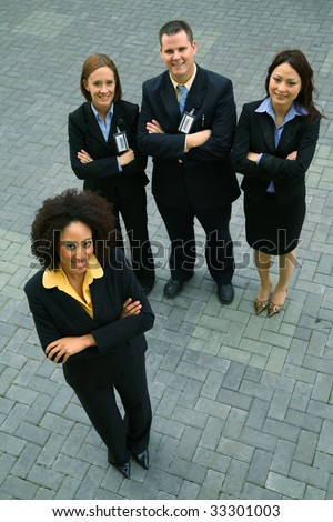 group of diversity business people standing outdoor. concept for success and diversity