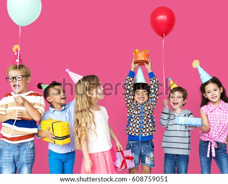 Group of Diversity Kids Party Together #608759051
