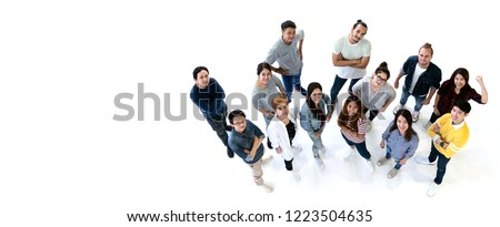 Group of Diversity People Team smiling with top view. Ethnicity group of creative teamwork in casual happy lifestyle together with copy space. Different in staff generations concept Banner.