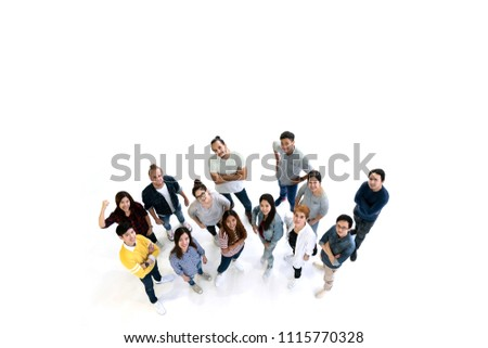 Group of Diversity People Team smiling with top view. Multiethnic or Ethnicity group of creative teamwork in casual happy lifestyle together with copy space. Different in staff generations concept.