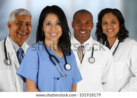 Group of doctors and nurses set in a hospital