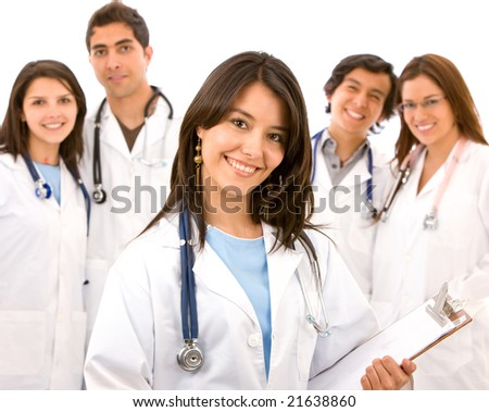 group of doctors standing isolated over a white background