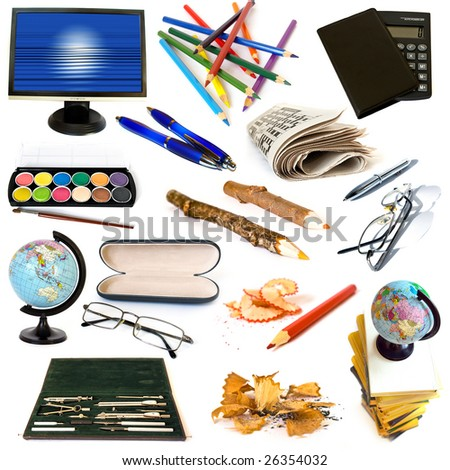 Group of education theme objects isolated on white background