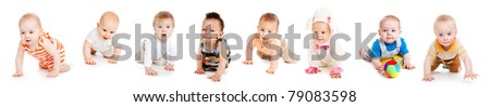 Group of eight babies, crawling, over white