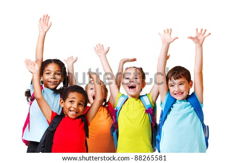 Group of emotional friends with their hands raised - stock photo