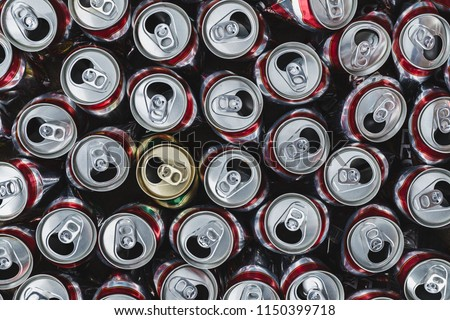 Group of empty aluminium can ready to recycle, top view, close up picture