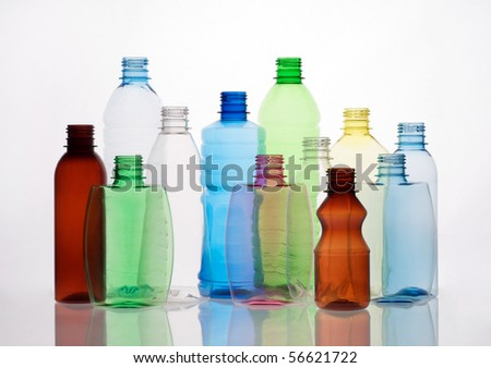 group of empty transparent plastic bottles