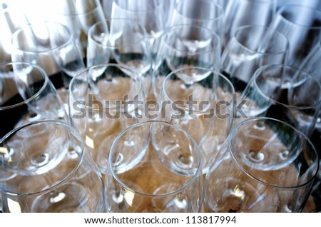 group of empty wine glass in a cellar