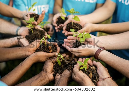 Group of environmental conservation people hands planting in aerial view #604302602