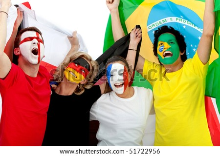 Group of excited football fans with their faces painted - Isolated over white