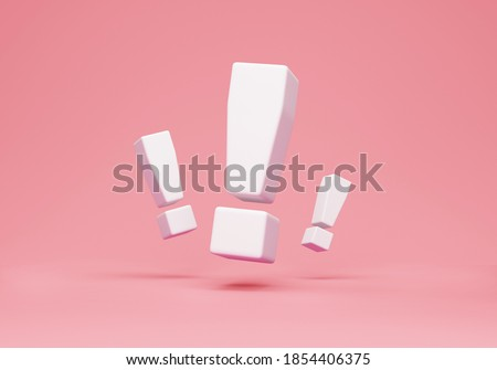 Group of Exclamation Marks on pink studio background. 3D Rendering Stock photo ©