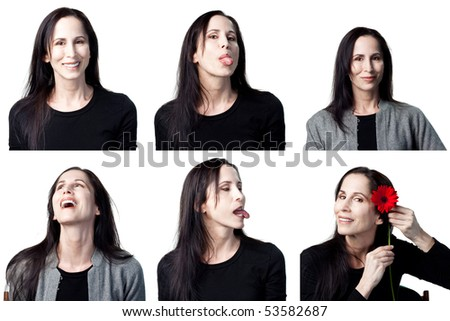 Group of facial expressions from an attractive actress