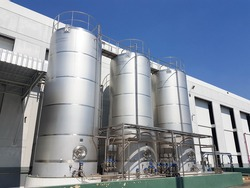 group of factory tank with clean sky