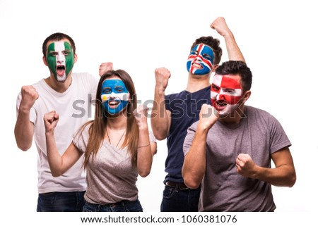 Group of fans suport their national teams with painted faces. Argentina, Croatia, Iceland, Nigeria Fans victory scream isolated on white #1060381076