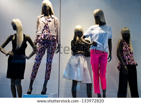 Group of fashion on window model.