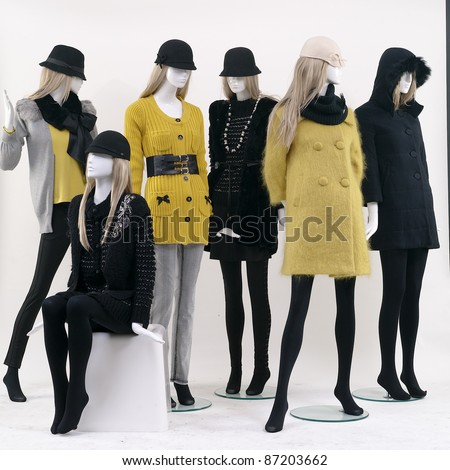 Group of fashion on window model white background