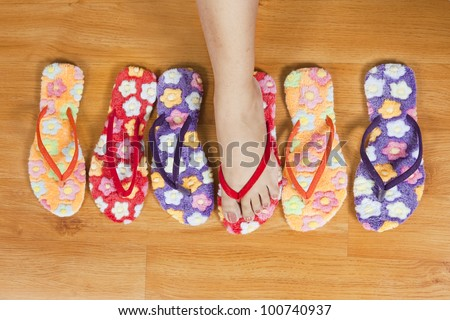 group of female shoes, woman's foot with shoes
