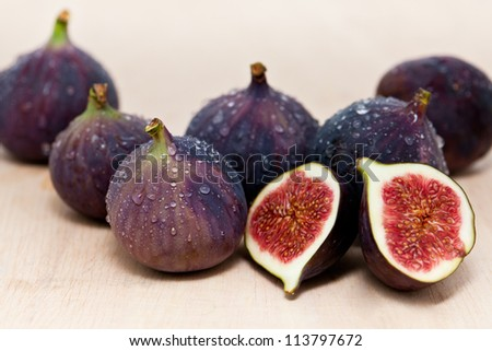 group of figs, covered with waterdrops