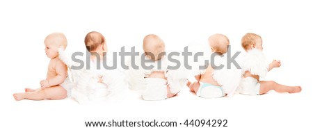 Group of five baby angels sitting, rear view, isolated